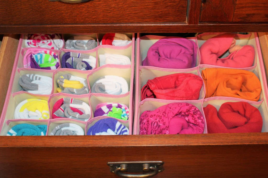 Inside your drawer, you will see just a pop of color as the inside of each organizer is a neutral cream color.