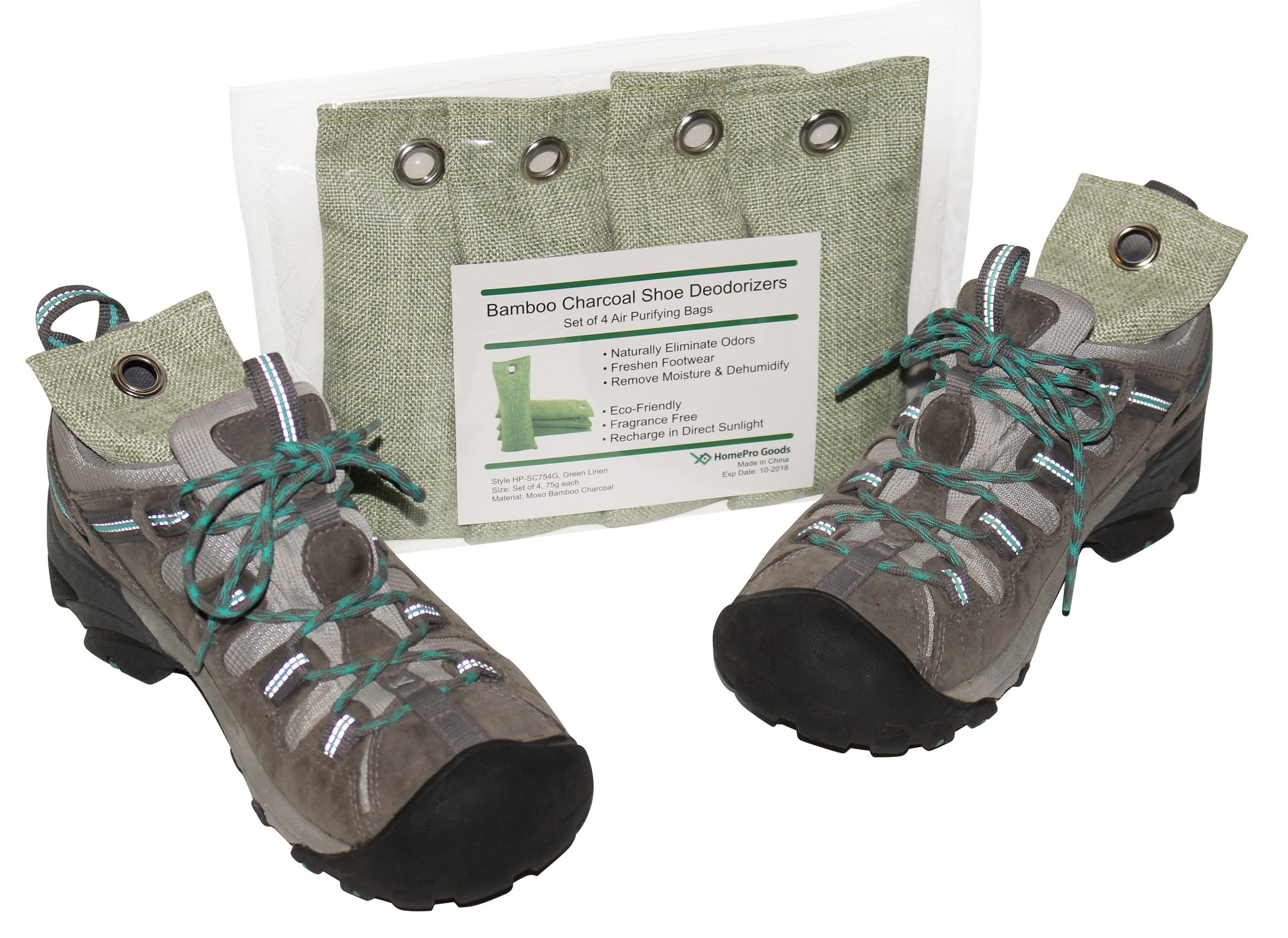 Product shown in package and inside a pair of hiking shoes