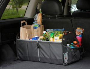 organizer filled with groceries