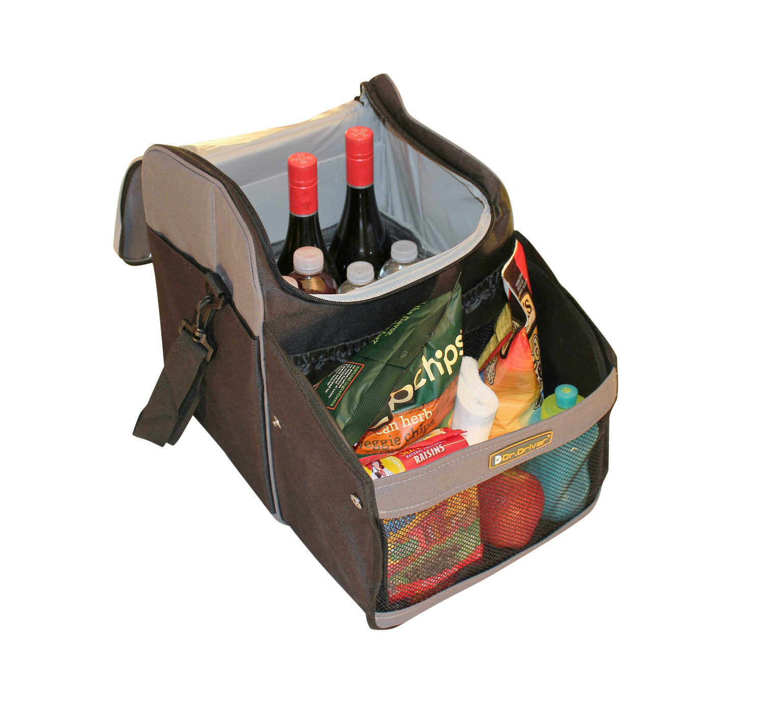 Soft Travel cooler open with wine, water bottles and snacks