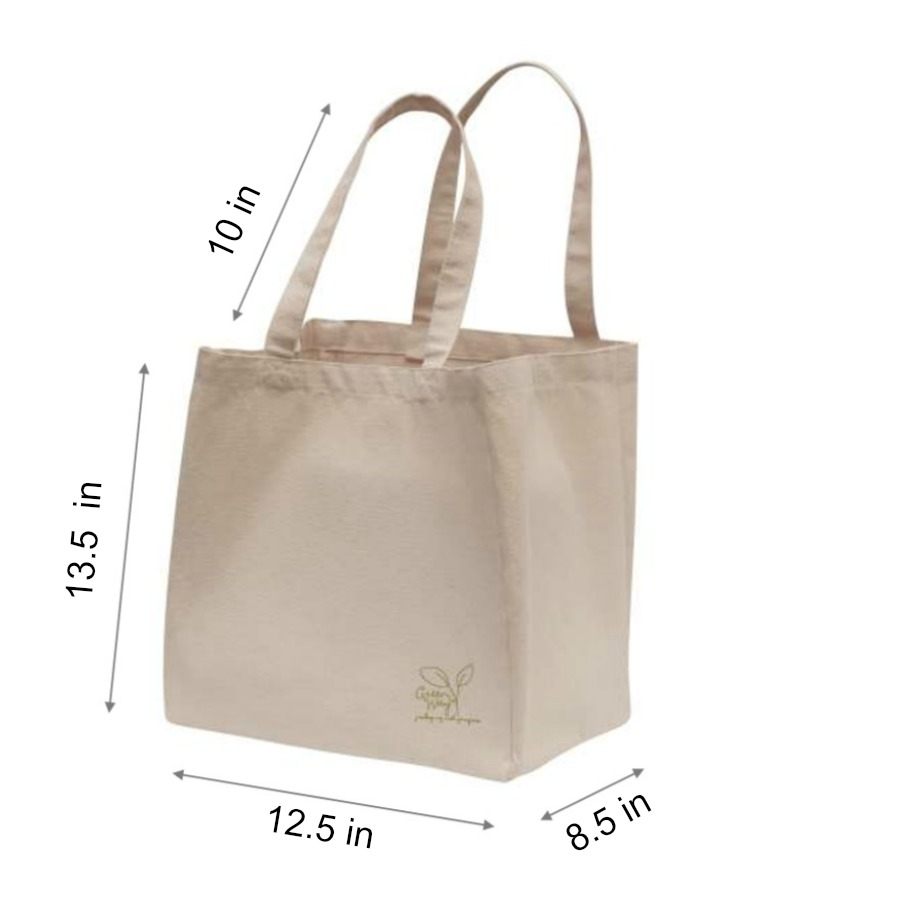 Canvas Tote Bag with Measurements