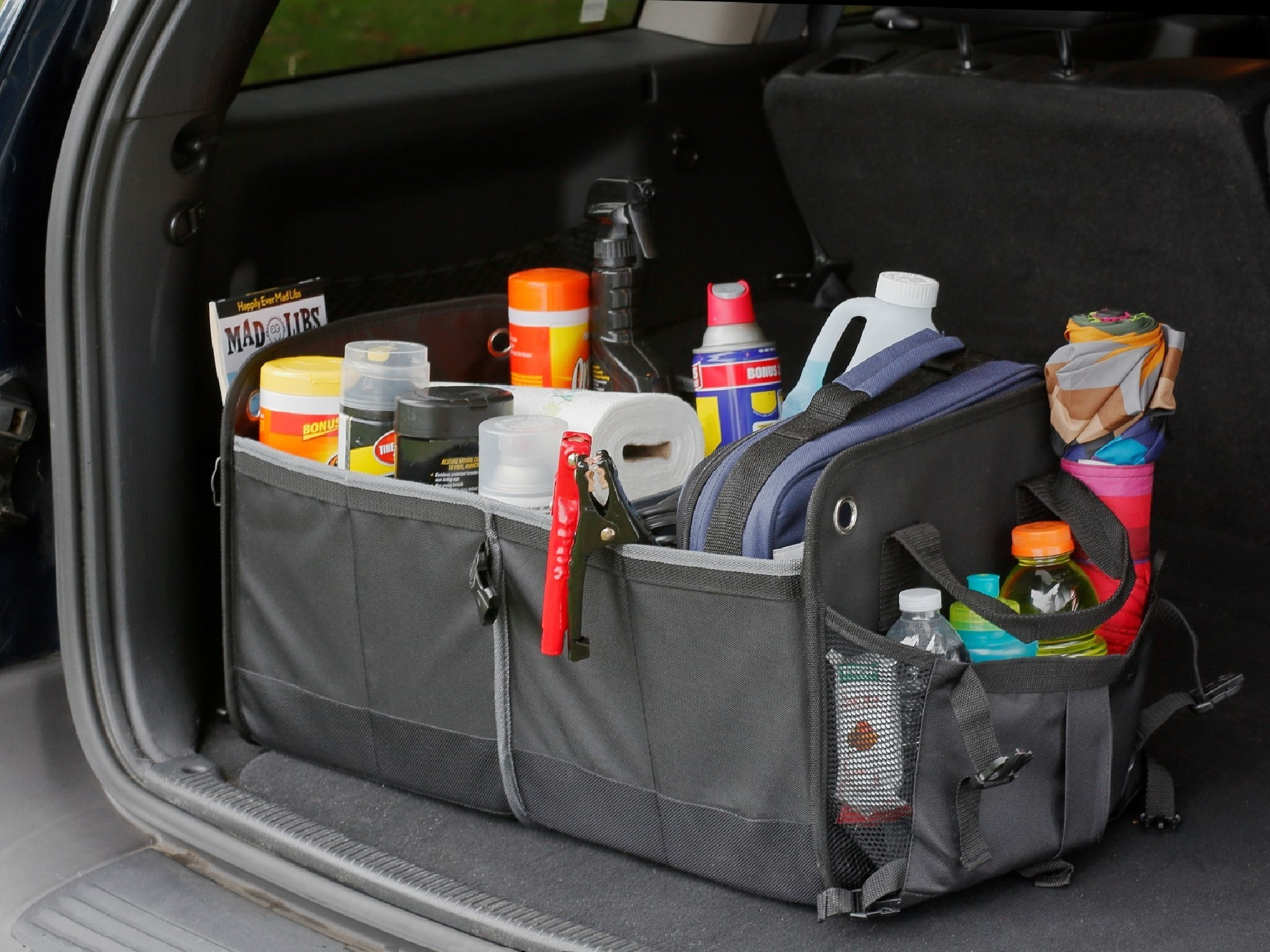 Car trunk organizer shown inside Jeep with Auto Supplies