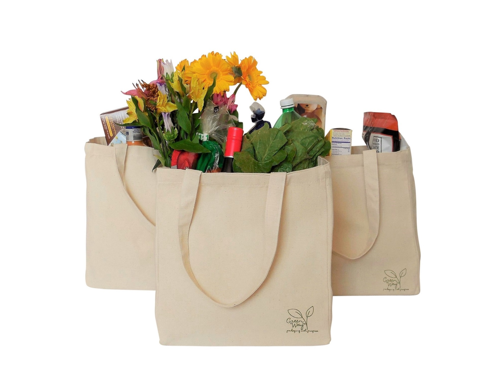 3 Canvas Shopping Bags with Groceries