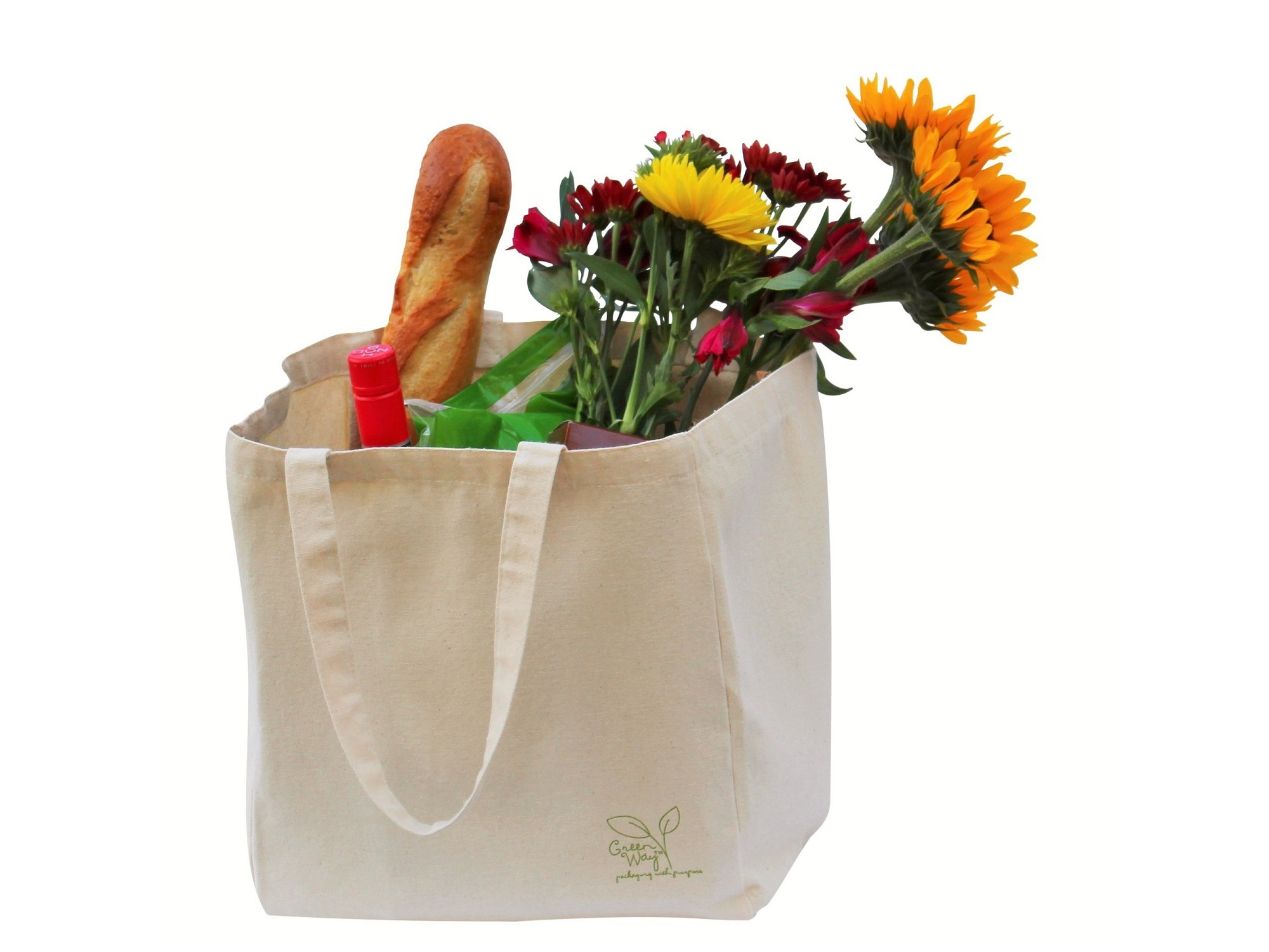 Canvas Tote Bag nwith Flowers and Groceries inside